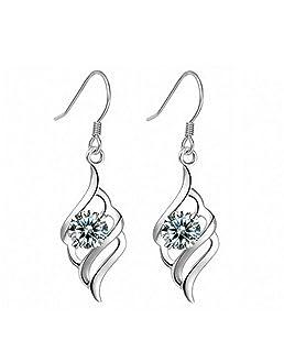 Boucles d'oreilles longues Argent 925 pendantes plumes ailes pour femme fille avec un écrin cadeau- Idée Cadeau Saint Valentin Anniversaire