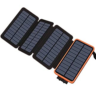 Hilluckey Solar Charger 25000mAh Portable Power Bank with 2 USB Ports
