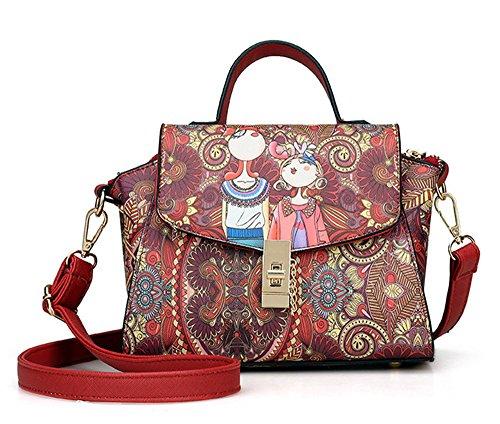 La mujer Xinmaoyuan bolsos impresos cruz diagonal hombro señoras bolso bolsa cuadrada pequeña hebilla,verde Rojo