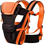 Smilecasters 4-in-1 Adjustable Hands-free Cotton Baby Carrier with Comfy Head Support and Waist Belt (Orange)