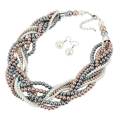 Faux Glass Necklace - Faux Glass Pearl Strand Multi Color Handwoven Retro Necklaces for Women