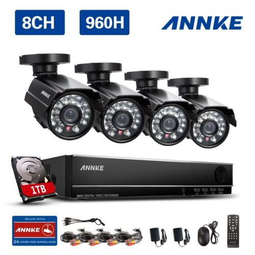 Annke 8CH 960H DVR Security Camera System with 4x 800TVL