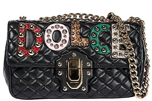 - Dolce&Gabbana women's leather shoulder bag original lucia black