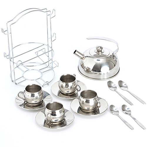 Timy Toy Tea Set 14pcs Stainless Steel Teapot Pretend Play Toy for Kids with Carrying Caddy, Saucers, Spoons