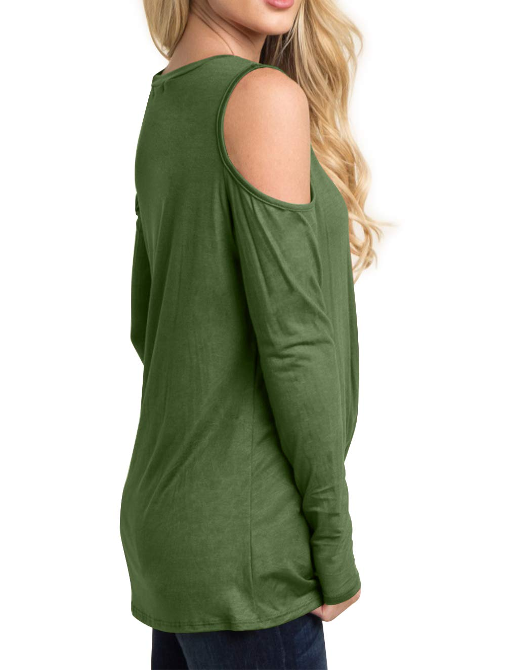 Eanklosco Women's Long Sleeve Cold Shoulder Cut Out T Shirts Casual Knot Tunic Tops (Army Green, 2XL)