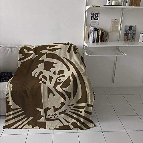 maisi Tiger Digital Printing Blanket Abstract Big Jungle Cat Predator Feline Grunge Elements Safari Hunting Action Image Summer Quilt Comforter 62x60 Inch Tan Brown