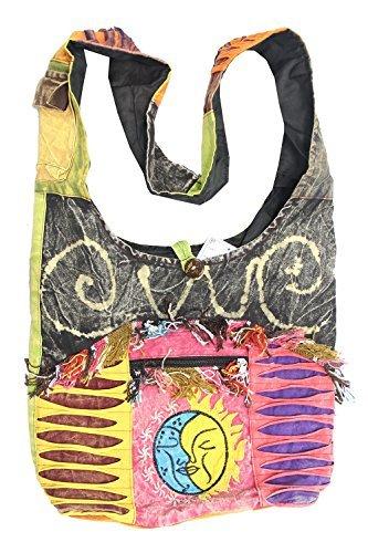 (KayJayStyles Sun Moon Hippie Boho Slouch Bag Sling Nepal Cross Body Bag (Gray))
