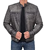 Motorcycle Jacket Mens - Vintage Cafe Racer Retro Distressed Moto Leather Jacket