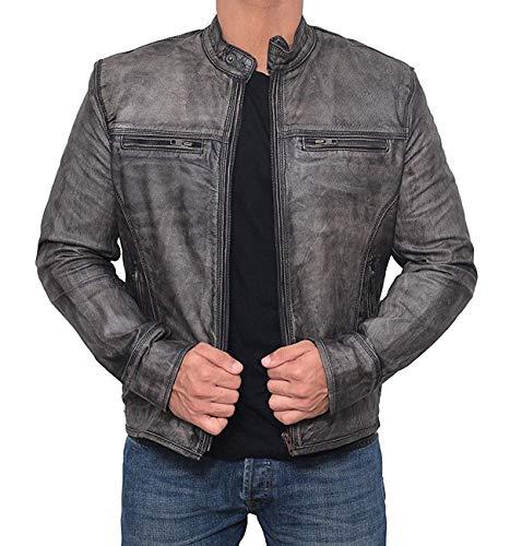 Motorcycle Jacket Mens - Vintage Cafe Racer Retro Distressed Moto Leather Jacket