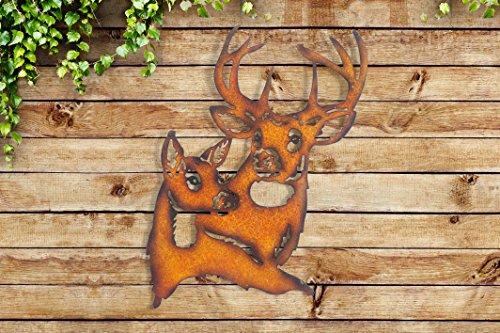 Sunjoy Deer Laser Cut Metal Wall Decor, Orange - Crown Iron Sculpture