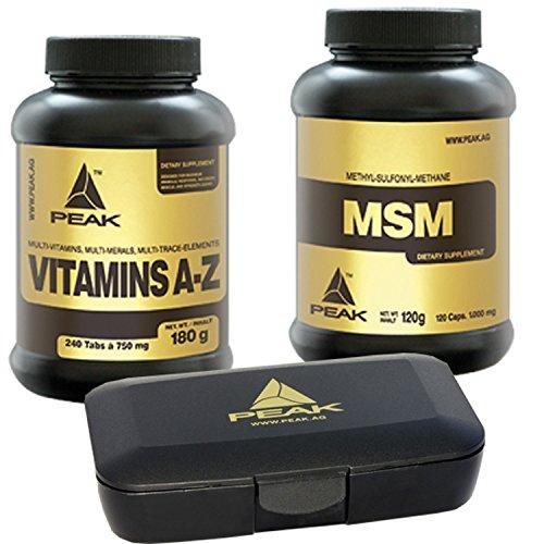 Peak MSM 120 Caps + Vitamins A-Z 240 Kapseln und Peak Pillendose Vitamin Vorteilspack