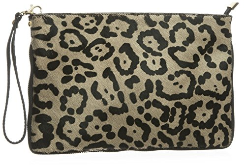 Jaguar Clutch (Big Handbag Shop Large Genuine Leather with Calf Fur Zip Clutch Shoulder Bag (Jaguar - Taupe))