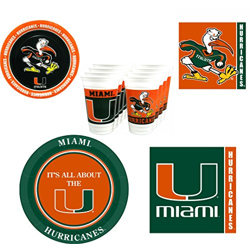 Miami Hurricanes Party Pack - 80 pieces