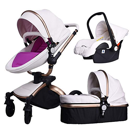 Baby Stroller,Babyfond 3 in 1 Baby Carriage Travel System Infant Pram Convertible Sleeping Basket Bassinet for Newborn and Toddler (White-F)