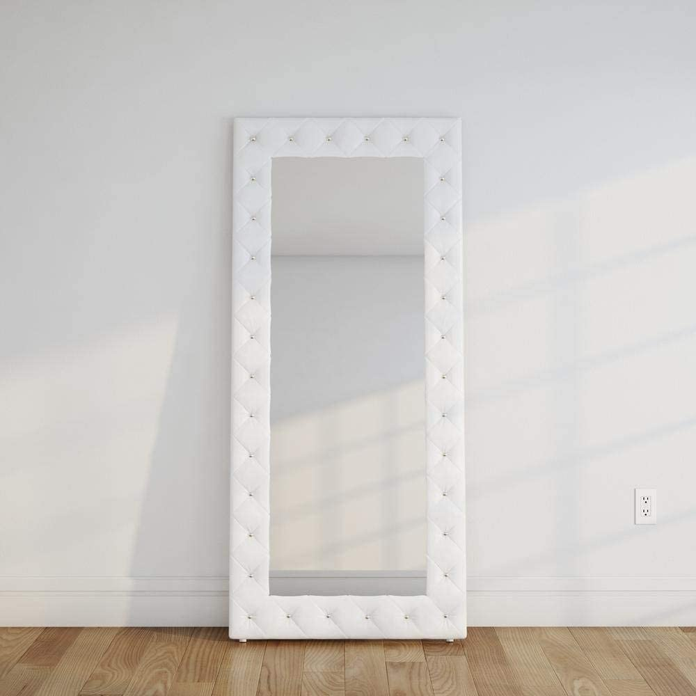 Baxton Studio Stella Crystal Tufted Modern Floor Mirror