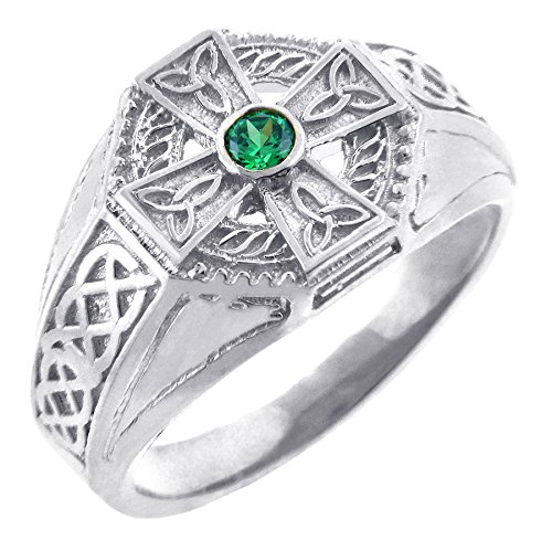 Men's Sterling Silver Endless Knot Band Green CZ Celtic Cross Ring (12)