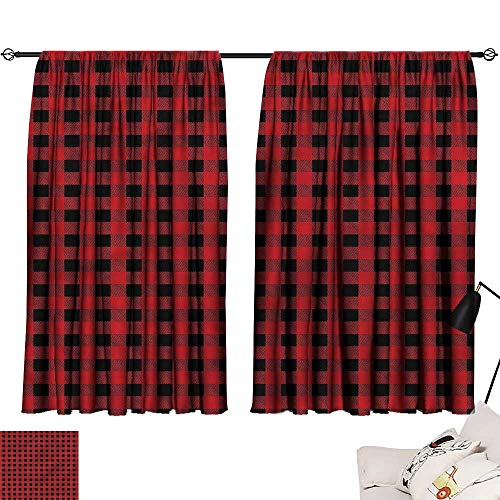 Jinguizi Bedroom/Living Darkening Curtains Red and Black,Chess Board Squares,Night Curtain Doorway W84 x L72 ()