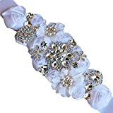 Lujuny Crystal Flower Bridal Maternity Sash Belt – Floral Ribbon Tie for Wedding Pregnant Baby Shower Party Photoshoot (WHITE)