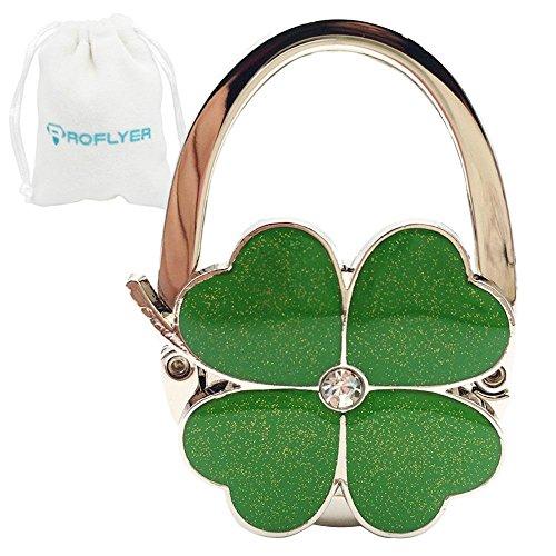 (Four Leaf Clover Design Foldable Handbag Hanger Folding Purse Table Hook Holder(Green))