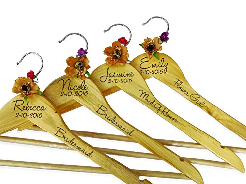 Brides Personalized Name Wedding Hangers Wooden Hangers Bridesmaid Wedding Gift