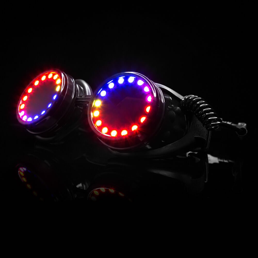 GloFX LED Pixel Pro Goggles [350+ Epic Modes] - Programmable Rechargeable Light Up EDM Festival Rave Party Sunglasses by GloFX (Image #3)