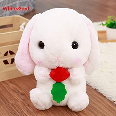 Star fire market Cute Lop Eared Rabbit Plush Toy Bunny Doll Pillow (White&red, 45cm): Toys & Games