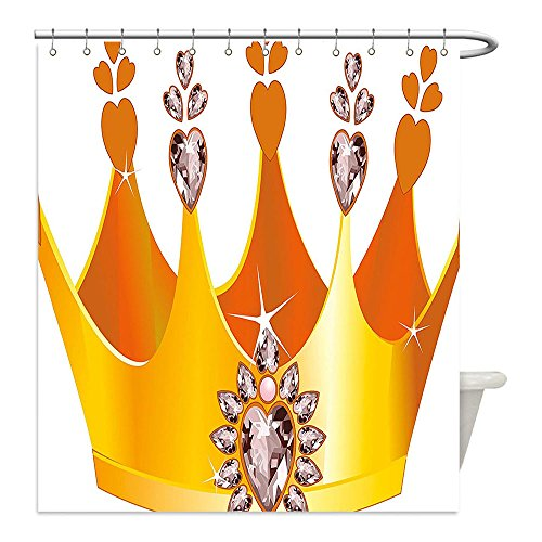 Liguo88 Custom Waterproof Bathroom Shower Curtain Polyester Queen Gold Colored Tiara Cartoon Princess Hearts Floral Details Fairytale Character Yellow Dried Rose Decorative (Queen Of Hearts Diy Costume Ideas)