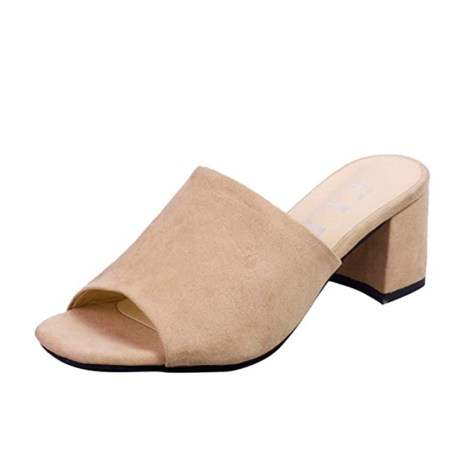 Sandalias mujer verano 2018, Covermason Moda mujer Flock Square Wedges Wedges Sandals Slipper Kitten Heels: Amazon.es: Ropa y accesorios