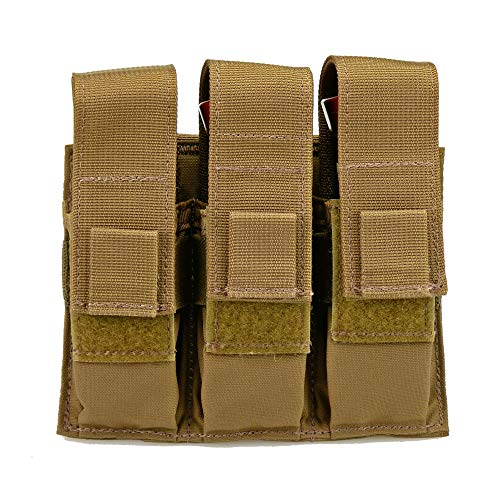 Triple Pistol Magazine Pouch, Nylon, MOLLE Compatible, Hand-Gun Mag Holder Suitable for Both Single and Double Stack (17,19, 43, 45, 21, 1911) Multitool, Flashlight and Folding Knife (Coyote Brown)