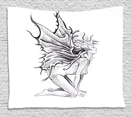 Supersoft Fleece Throw Blanket Tattoo Artistic Pencil Drawing Art Print Nude Fairy Opening its Angel Wings Black and White
