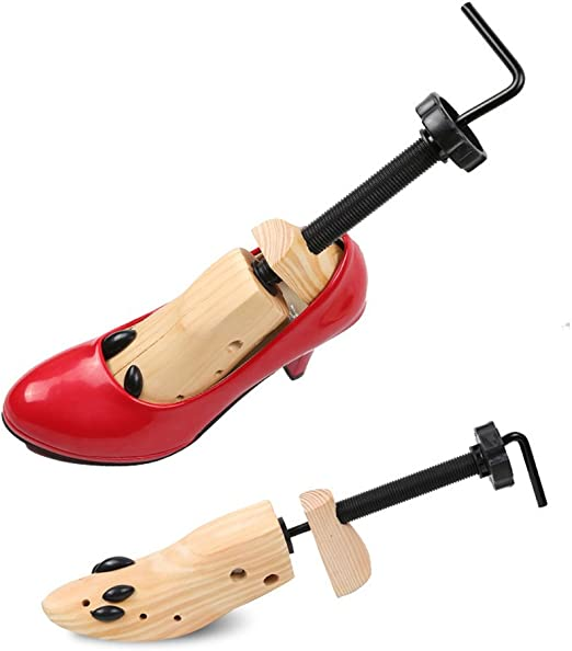 Pair Shoe Stretcher Tool For Women Men Wood High Heel Wide Feet Large Size 10-13