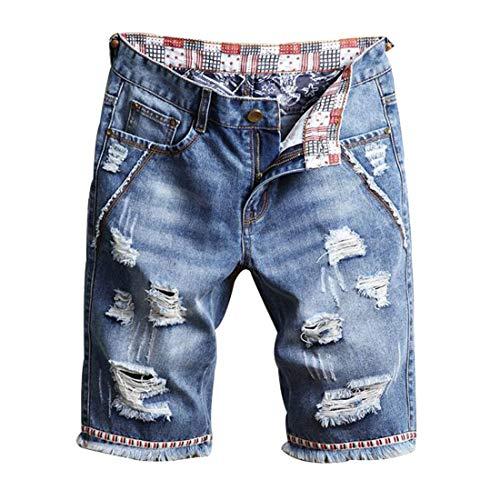 Hzcx Fashion Men's Vintage Slim Fit Distressed Denim Shorts Cut-Off Jean Short(Light Blue,32) ()