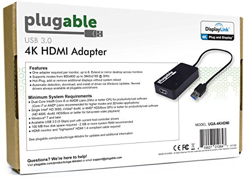 Plugable USB 3 0 to HDMI 4K UHD (Ultra-High-Definition) Video Graphics  Adapter for Multiple Monitors up to 3840x2160 (Supports Windows 10, 8 1, 8,  7)