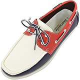 ABSOLUTE FOOTWEAR Mens Summer/Smart / Casual Lace Up Boat/Deck Shoes/Loafers - Red/Blue / White - 10 US