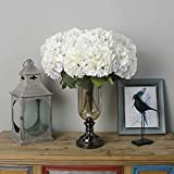 Jasion Artificial Hydrangea Flowers 5 Big Heads Bouquet Beautiful Flowers for Office Home Party Decoration (White)