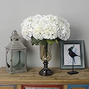 Jasion Artificial Hydrangea Flowers 5 Big Heads Bouquet Beautiful Flowers for Office Home Party Decoration (White) 45