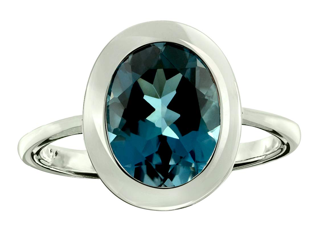 RB Gems Sterling Silver 925 Ring Genuine Gemstone Oval 10x8 mm with Rhodium-Plated Finish, Bezel-Setting (11, London-Blue-Topaz)