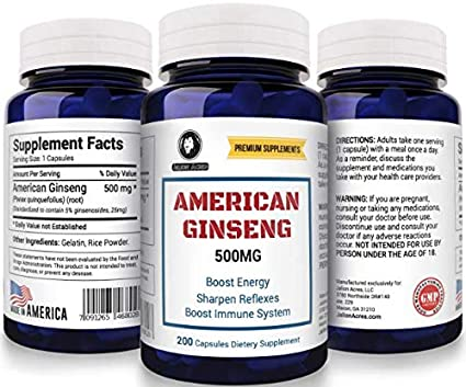 American Ginseng 500 mg, 200 Capsules  A Massive 6 Month Supply by Jalion  Acres Premium