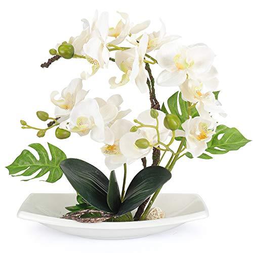 (Yobansa Orchid Bonsai Artificial Flowers with Imitation Porcelain Flower Pots Phalaenopsis Fake Flowers Arrangements for Home Decoration (White))
