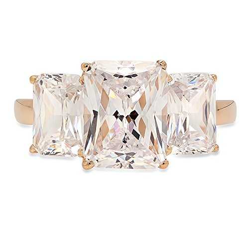 4.0 ct Three Stone Brilliant Emerald Cut Simulated Diamond CZ Designer Solitaire Promise Ring Wedding Anniversary Band Solid 14K Yellow (Designer Solitaire Ring)
