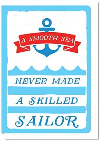 Tarjeta de felicitación clásica con impresión serigrafiada, diseño de marinero: Amazon.es: Oficina y papelería