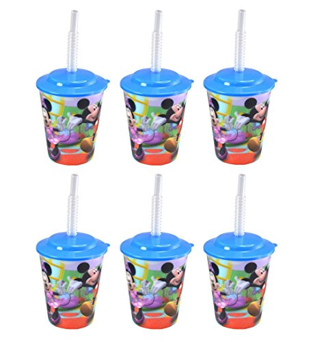 (6-Pack Mickey Mouse Clubhouse 12oz Lenticular Tumbler Cups with Lids & Straws)