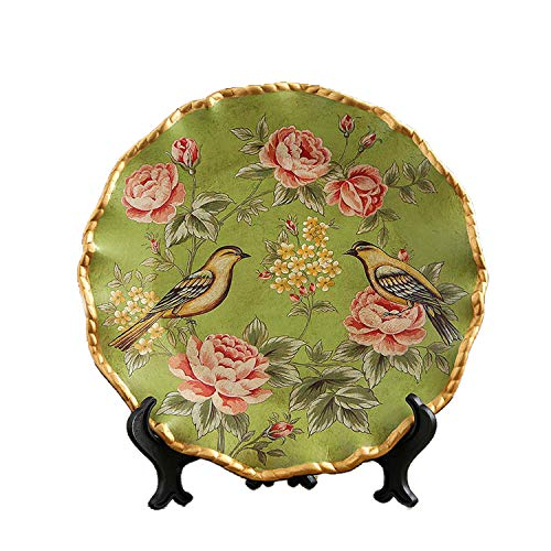 ONLY-FOR-ME-1 Vintage European Ceramic Decoration Plate Flower Little Bird Pattern Tray with Base Creative Crafts Hotel Adornment,C]()