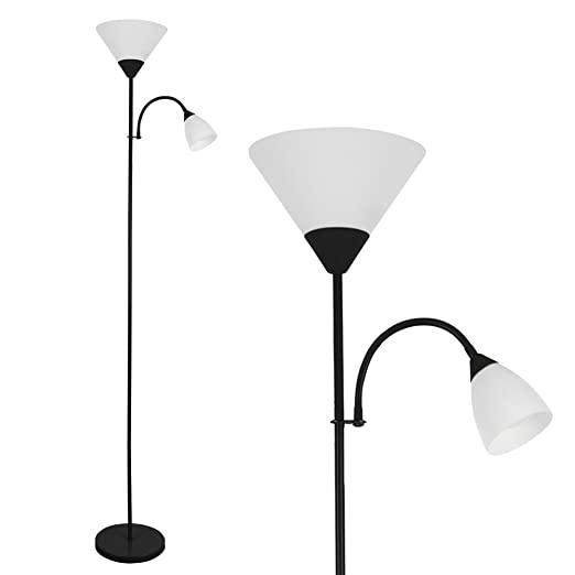 Modern Gloss Black 2 Way Mother/Father Parent & Child Uplighter and ...