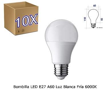 Jandei - Pack de 10 Bombillas LED Esférica A60, Casquillo E27, 10 W,