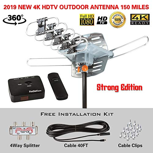 FiveStar Outdoor HDTV Antenna 2019 Newest Model Up to 150 Miles Long Range with Motorized 360 Degree Rotation, UHF/VHF/FM Radio with Infrared Remote Control Advanced Design Plus Installation - Radio Remote Control Infrared