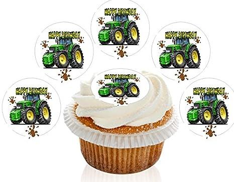 12 Large Pre Cut Edible Happy Birthday John Deere Wafer Cupcake