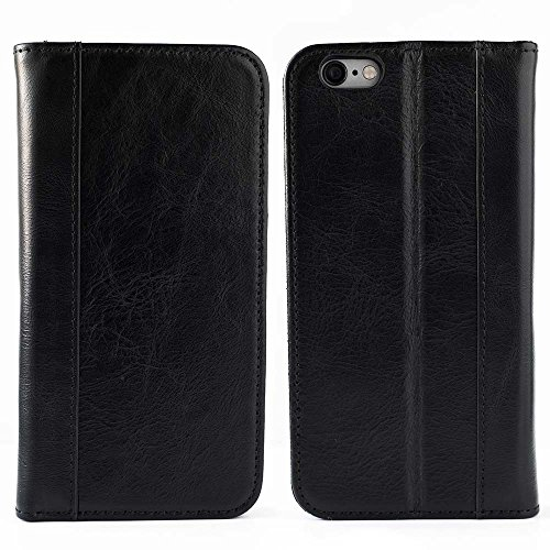 iPhone 6, iPhone 6S Case (Does NOT Fit 6/6s PLUS) by Cherry Tree Leather   Genuine Top-Grain Leather Case with 5 ID or Credit Card Slots, Stand, and Magnetic Closure   Men and Women (Black)