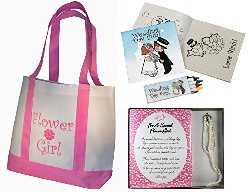 Best Flower Girl Gifts Set: Tote Bag, Necklace and Bracelet Set, Wedding Day Kids Activity kits