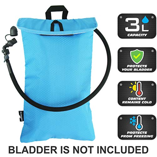 Cooler Bag Protective Sleeve for up to 3L Hydration Water Bladder. Excellent Insulator Keeps Water Cool Protects Your Bladder, Water Resistant Pouch Fits Almost All Backpacks. Bladder NOT Included!